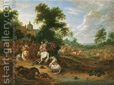 A Landscape With A Cavalry Skirmish by Adam Frans van der Meulen - Reproduction Oil Painting
