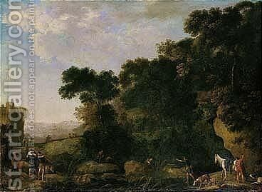 A Southern Landscape With Fishermen by Herman Van Swanevelt - Reproduction Oil Painting