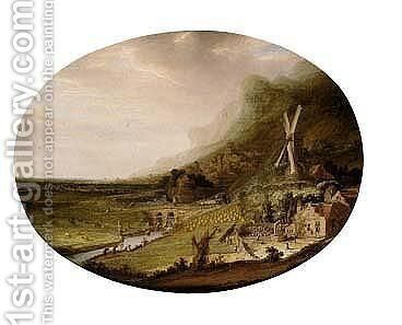 An Extensive Landscape With A Windmill Overlooking A Farm And A River, With A City Beyond by Jacob De Villeers - Reproduction Oil Painting