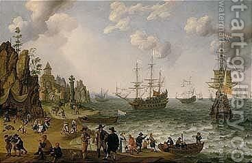 Elegant Figures, Dancing Peasants And Other Figures On A Rocky Shore, Royal Yachts And Other Shipping Vessels On Choppy Seas Beyond by Isaac Willaerts - Reproduction Oil Painting