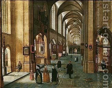 The Interior Of A Cathedral With Elegant Figures by Abel Grimmer - Reproduction Oil Painting