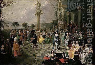 Elegant Figures Dancing On The Terrace Of A Country Villa by Hieronymus Janssens - Reproduction Oil Painting
