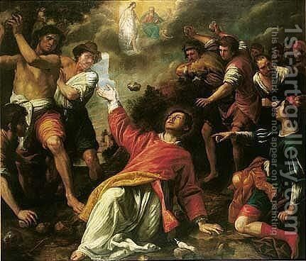 The Stoning Of Saint Stephen by Domenico Fiasella - Reproduction Oil Painting