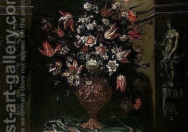 Still Life Of Variegated Tulips, Daffodils, Convulvuli, Carnations And Other Flowers In A Sculpted Urn, Set In A Stone Niche And Flanked By Statues Of Hebe And Diana by dei Fiori (Nuzzi) Mario - Reproduction Oil Painting