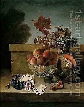 Still Life Of Peaches In A Porcelain Bowl, Together With Grapes, Figs, A Melon, And A Purse With Coins And Playing Cards, All Upon A Stone Ledge by Jean-Baptiste Oudry - Reproduction Oil Painting