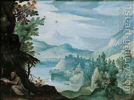 A hermit Saint in a river landscape, a town in the distance by (after) Paul Bril - Reproduction Oil Painting