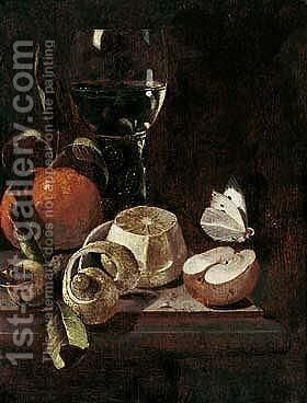 Still Life Of A Roemer, An Orange, Lemon, A Medlar, An Apple And A Cabbage White Butterfly, Upon A Stone Ledge by Marten Nellius - Reproduction Oil Painting