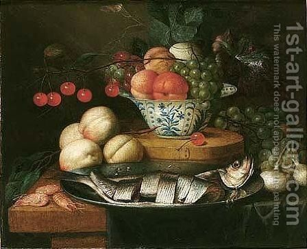 Still Life Of Fruits In A Blue And White Bowl, Together With Peaches, Grapes, Prawns, Onions And Herring On A Pewter Dish On A Table Partly Draped With A Blue Cloth by Jan Pauwel Gillemans The Elder - Reproduction Oil Painting