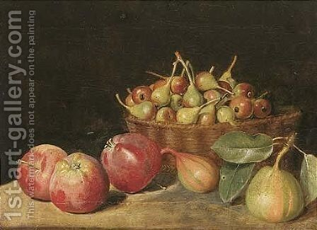 Still Life Of Crabapples In A Basket, Together With Apples And Pears, Upon A Stone Ledge by Jacob Samuel Beck - Reproduction Oil Painting