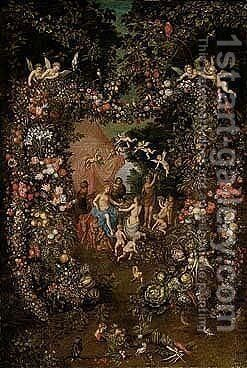 The crowning of cybele set within a garland of flowers, fruit and vegetables by Jan, the Younger Brueghel - Reproduction Oil Painting