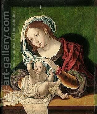 The virgin and child 6 by (after) Jan (Mabuse) Gossaert - Reproduction Oil Painting