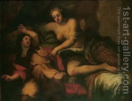 Joseph and Potiphar's wife by (after) Francesco Del Cairo - Reproduction Oil Painting