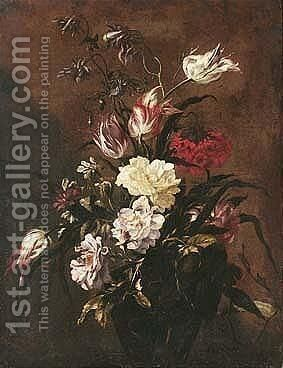 Still Life Of Roses, Variegated Tulips, And Other Flowers, In A Glass Vase by dei Fiori (Nuzzi) Mario - Reproduction Oil Painting