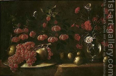 Still life of grapes and pears upon an upturned dish, together with carnations in a glass vase by Spanish School - Reproduction Oil Painting