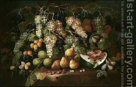 Still life of red and white grapes, together with pears, cherries, plums, peaches, medlars and apples, upon a ledge by (after) Maximilian Pfeiler - Reproduction Oil Painting