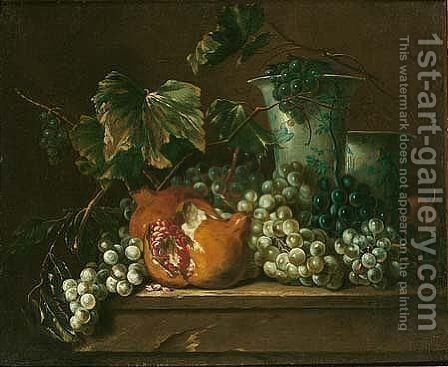 Still life of grapes, a pomegranate and blue-and-white porcelain vases, set upon a stone ledge by (after) Largilliere, Nicholas de - Reproduction Oil Painting