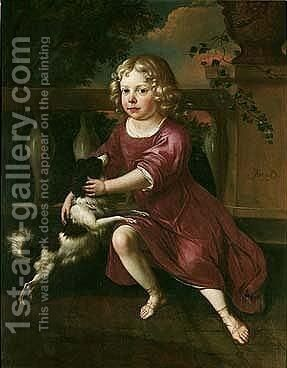 Portrait Of A Young Boy, Full Length, Wearing A Crimson Tunic, Playing With A Spaniel, On A Classical Terrace by Jan van Neck - Reproduction Oil Painting