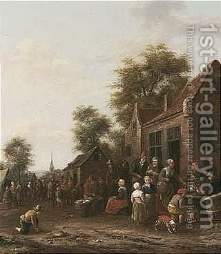 A Village Market With A Poultry Seller by Barend Gael or Gaal - Reproduction Oil Painting