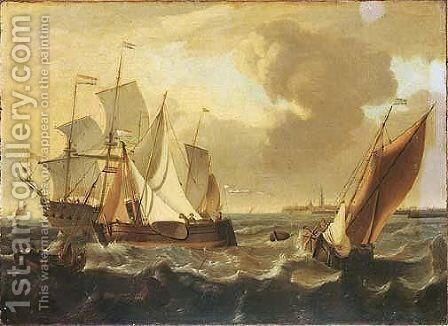 Shipping Vessels On Choppy Seas, The Town Of Enkhuizen Beyond by (after) Ludolf Backhuysen - Reproduction Oil Painting