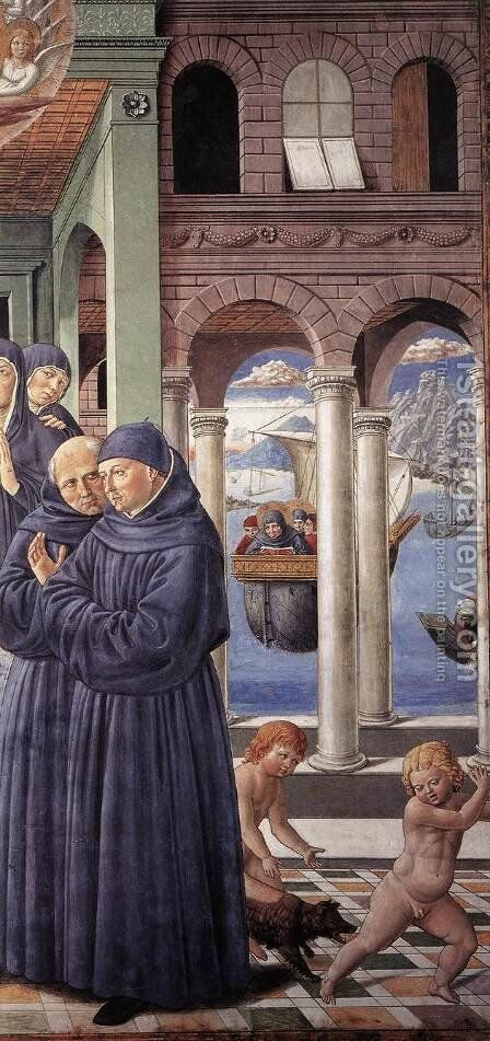 Death Of St Monica (detail) by Benozzo di Lese di Sandro Gozzoli - Reproduction Oil Painting