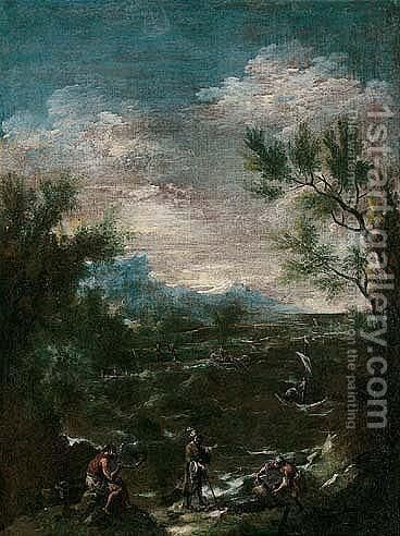 A coastal landscape with a turbaned man and other figures in the foreground by (after) Alessandro Magnasco - Reproduction Oil Painting