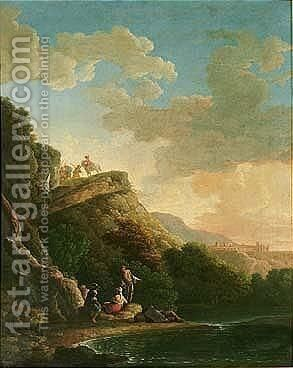 A Mountainous Landscape With Soldiers And Women Resting On The Edge Of A Lake, A Town On The Hillside Beyond by (after) Carlo Bonavia - Reproduction Oil Painting
