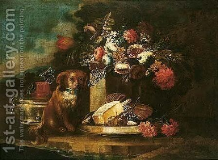 Still Life With Flowers And A Dog With A Dish Of Sweetmeats And Figs In A Garden Setting by (after) Gasparo Lopez - Reproduction Oil Painting