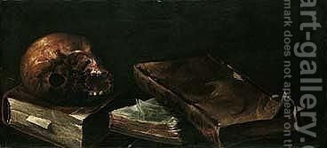 Vanitas still life of a skull and books by (after) Andres Deleito - Reproduction Oil Painting