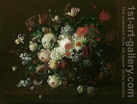 Still life of roses, irises, tulips, convulvuli, gladioli and other flowers, in an urn by (after) Georgius Van Os - Reproduction Oil Painting