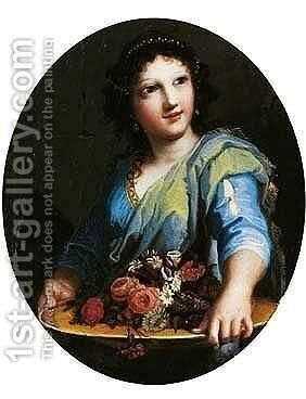 A Young Woman Holding A Basin Of Flowers by Jacques Stella - Reproduction Oil Painting