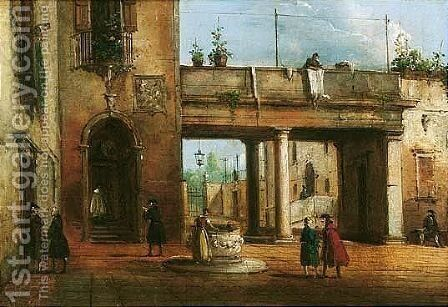 An Italian Piazza With Elegant Figures Conversing, A Woman Drawing Water From A Well by Giovanni Migliara - Reproduction Oil Painting