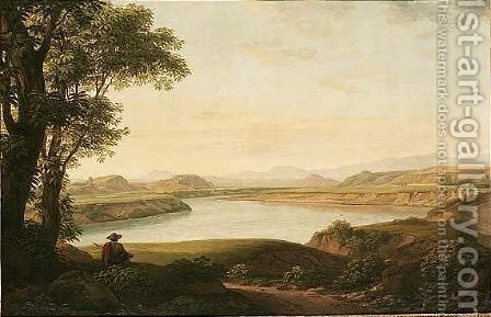 Italian River Landscape At Dusk, With A Huntsman Resting by (after) Johann Christian Reinhardt - Reproduction Oil Painting