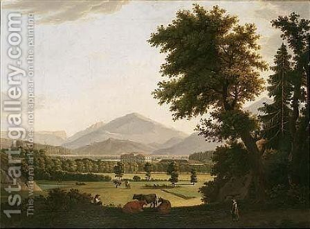 A View Of A Country House, With Figures And Cattle In The Grounds, Foothills Beyond by Andreas Nesselthaler - Reproduction Oil Painting