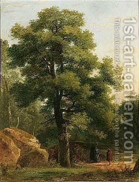 A Wooded Landscape With Travellers Resting Beneath A Tree by Jean-Victor Bertin - Reproduction Oil Painting