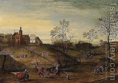 Spring - An Extensive Landscape With A View Of A Country-house With Figures Planting, Travellers On A Road In The Foreground by Jacob Grimmer - Reproduction Oil Painting