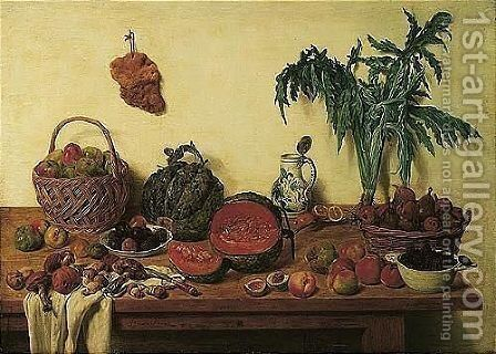 A Kitchen Still Life With Apples And Pears In Baskets, Plums And Blackberries In Porcelain Bowls, Melons, Porcini Mushrooms, A Blue-and-white Porcelain Jug, Peaches, Celery, And Other Objects All Arranged On A Wooden Table by Jan Jozef, the Younger Horemans - Reproduction Oil Painting