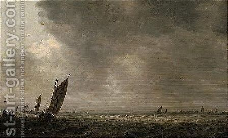 An Estuary Scene With A Smalschip And Other Fishing Vessels In A Breeze by Jan van Goyen - Reproduction Oil Painting