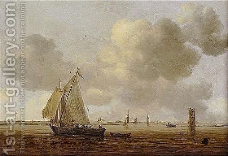 An Estuary Scene With A Wijdschip In A Light Breeze by Jan van Goyen - Reproduction Oil Painting
