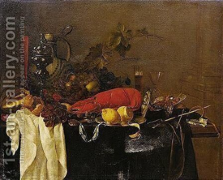 A Still Life With A Lobster, Fruit, Lemons, A Porcelain Jug, Pewter Vessels And A Facon-de-venise Wine-glass, All On A Table Draped In Green Velvet by Jan Davidsz. De Heem - Reproduction Oil Painting