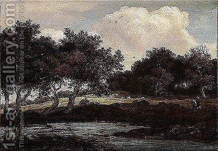 A Wooded Landscape With Travellers On A Track By A Pool by Jacob Van Ruisdael - Reproduction Oil Painting