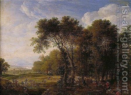 A Wooded Landscape With Figures Picnicking, Others Harvesting Beyond by Herman Saftleven - Reproduction Oil Painting