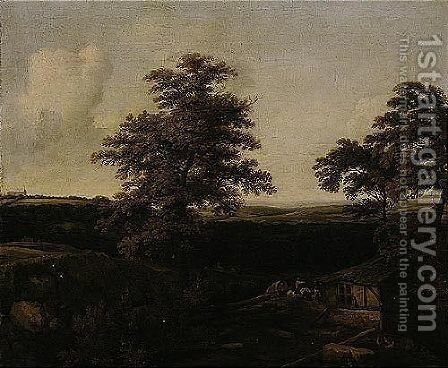An Extensive Wooded Landscape With A Covered Wagon Approaching A Cottage, A Distant View Of A Country House Beyond by Allaert van Everdingen - Reproduction Oil Painting