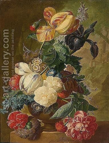 A Still Life Of Flowers, Including Tulips, A Delphinium And An Iris In A Stone Vase, A Bird's Nest With Eggs Below And A Landscape Beyond by Jan van Os - Reproduction Oil Painting