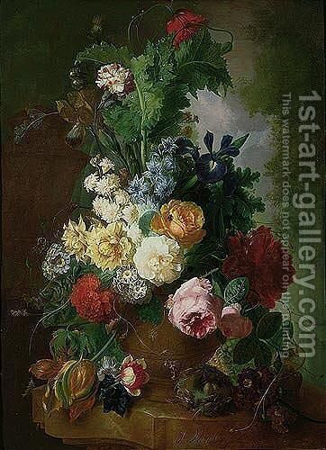 A Still Life Of Flowers In A Terracotta Urn With A Bird's Nest On A Marble Ledge, A Garden Beyond by Jan van Os - Reproduction Oil Painting