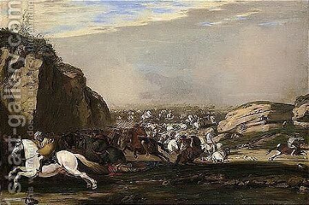 A Cavalry Engagement Between Turks And Christians by Aniello Falcone - Reproduction Oil Painting