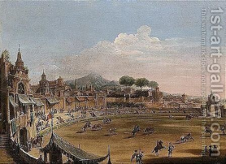 A View Of A Plaza De Toros With Bullfight by (after) Francesco Battaglioli - Reproduction Oil Painting