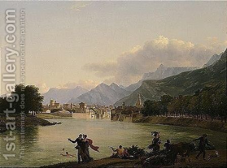 An Alpine Landscape With A View Of A Lake And Figures Bathing, Resting And Promenading, A Town Beyond by Jean-Joseph-Xavier Bidauld - Reproduction Oil Painting