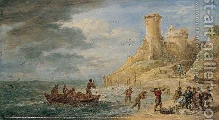 A Coastal Scene With Fishermen Bringing Their Catch Ashore Near A Castle by David The Younger Teniers - Reproduction Oil Painting