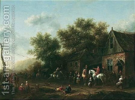 Figures And Sportsmen Gathered Outside An Inn Playing Ganstrekken by Barend Gael or Gaal - Reproduction Oil Painting