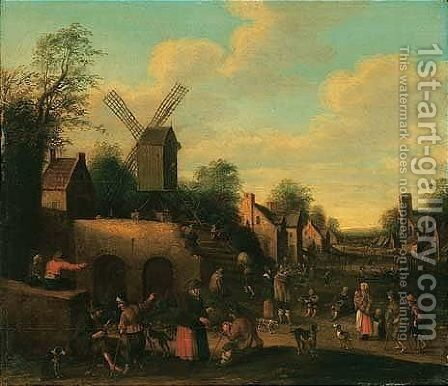 A Scene In A Dutch Village With Beggars And Numerous Figures By A Windmill by Joost Cornelisz. Droochsloot - Reproduction Oil Painting